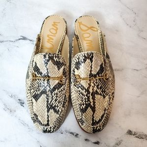 Sam Edelman Linnie Snake Printed Leather Mules